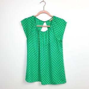 Green & White Banana Republic Short Sleeve Blouse